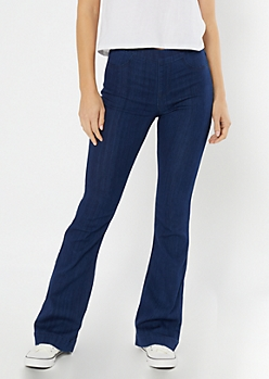 Cello Dark Wash Pull On Flare Jeans