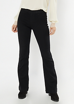 Cello Black Pull On Flare Jeans