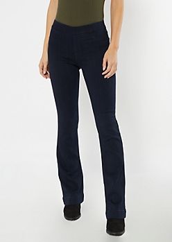 Cello Dark Rinse Pull On Flare Jeans