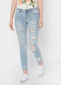 Cello Light Wash Destructed Ankle Skinny Jeans