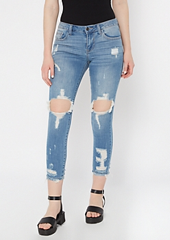 Cello Medium Wash Blown Knee Skinny Jeans