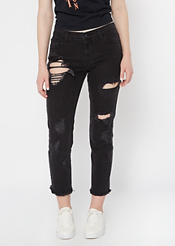 Cello Black Distressed Boyfriend Jeans