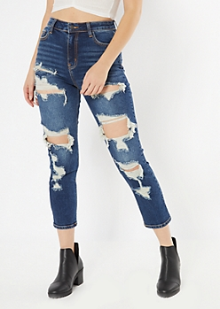 Dark Wash Cutout Distressed Straight Leg Jeans