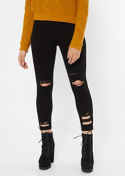 Cello Black Ripped Cropped Skinny Jeans