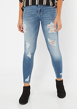 Cello Medium Wash Mid Rise Distressed Jeggings