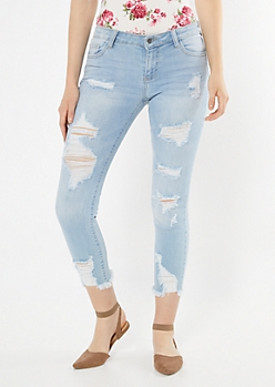 Light Wash Ripped Frayed Hem Jeggings