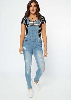 Medium Wash Ripped Jean Overalls