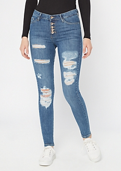 Medium Wash Exposed Button Distressed Skinny Jeans