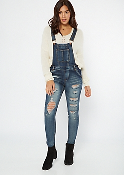 Dark Wash Distressed Button Side Overalls