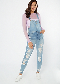 Light Wash Distressed Button Front Overalls