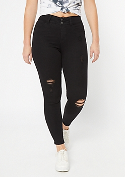 Black High Waisted Double Button Booty Jeggings