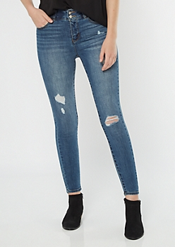 Medium Wash High Waisted Double Button Booty Jeggings