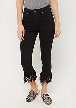 Black Fringed Hem Skinny Cropped Jeans