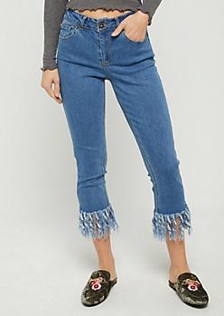 Vintage Blue Fringed Skinny Jeans