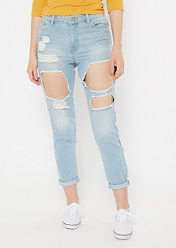 Light Wash Cutout Rolled Mom Jeans