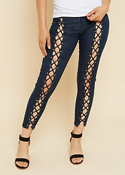 Dark Wash Lace Up Front Cropped Booty Jeans