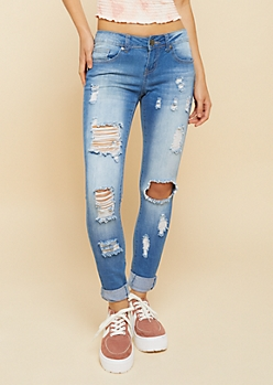 Medium Wash Low Rise Destroyed Cuffed Skinny Jeans