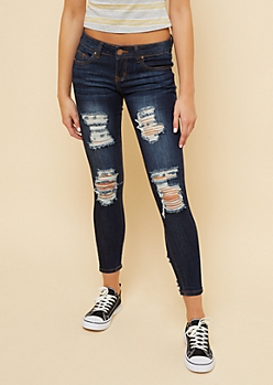 Dark Wash Low Rise Distressed Skinny Jeans