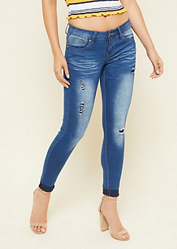Medium Wash Low Rise Stitched Distressed Booty Jeans
