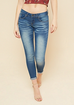 Dark Wash Low Rise Rolled Cuff Skinny Booty Jeans