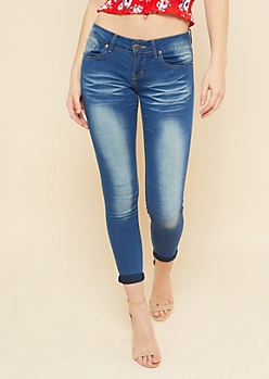 Medium Wash Low Rise Rolled Cuff Skinny Booty Jeans