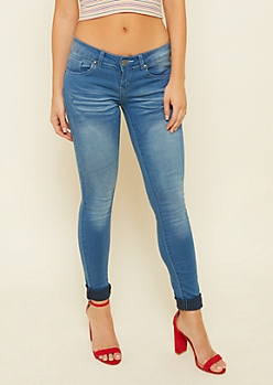 Medium Wash Low Rise Whiskered Skinny Jeggings