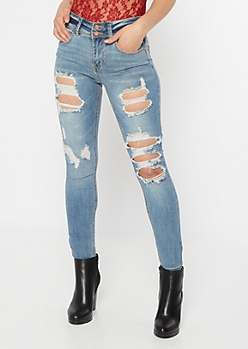 Recycled Medium Wash Distressed Skinny Jeans