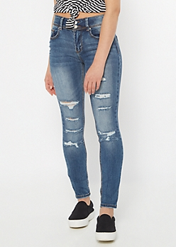Recycled Medium Rinse Distressed Skinny Jeans
