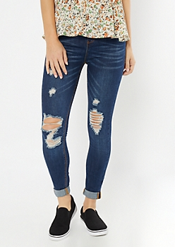 Medium Wash High Waisted Distressed Knee Jeggings