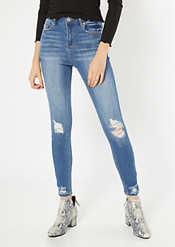 Recycled Medium Wash High Waisted Ripped Curvy Jeggings