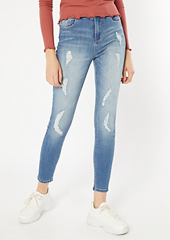 Recycled Medium Wash High Waisted Curvy Jeggings