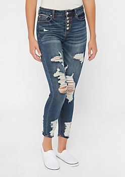 Recycled Dark Wash Button Fly Ripped Jeggings