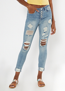 Recycled Light Wash Button Front Ripped Skinny Jeans
