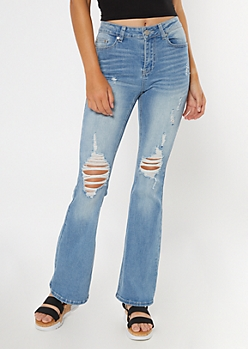 Recycled Light Wash Ripped Flare Jeans