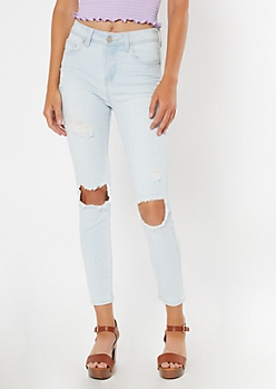 Recycled Light Wash Ripped Knee Jeggings