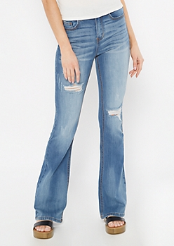 Recycled Medium Wash Fit and Flare Jeans