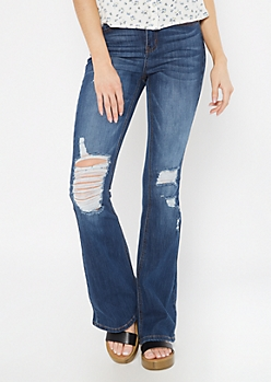 Recycled Dark Wash Distressed Fit and Flare Jeans