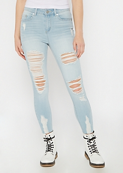 Recycled Light Wash Distressed Skinny Jeans
