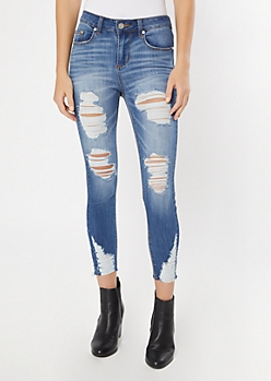 Recycled Medium Wash Destructed Skinny Jeans