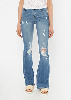 Medium Wash Recycled Ripped Flare Jeans