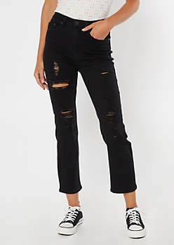 Black Ripped Straight Jeans