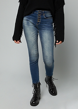 Dark Wash 5 Button High Waisted Skinny Ankle Jeggings