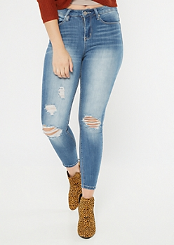 Recycled Medium Wash High Waisted Ripped Jeggings