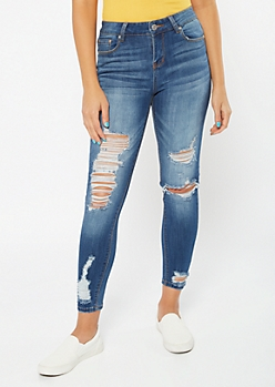 Recycled Medium Wash Distressed Hem Jeggings
