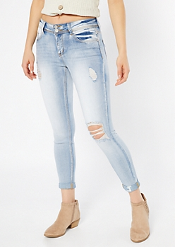 Recycled Light Wash Double Button Skinny Jeans