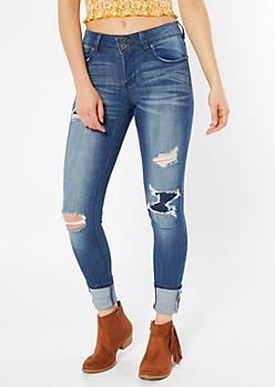 Recycled Dark Wash Double Button Skinny Jeans
