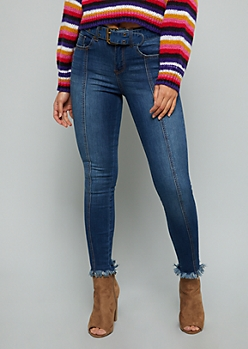 Dark Wash Mid Rise Frayed Ankle Jeans