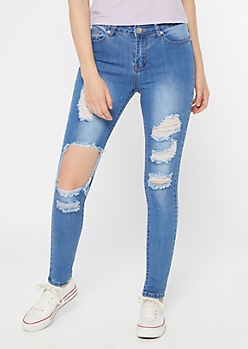 Medium Wash High Waisted Ripped Knee Jeggings