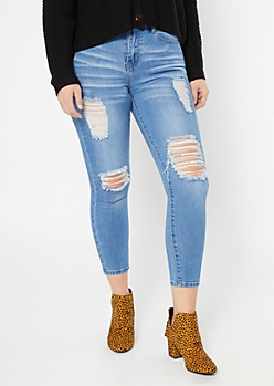 Medium Wash High Waisted Ripped Ankle Jeggings