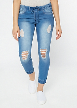Medium Wash Distressed Drawstring Jogger Jeans